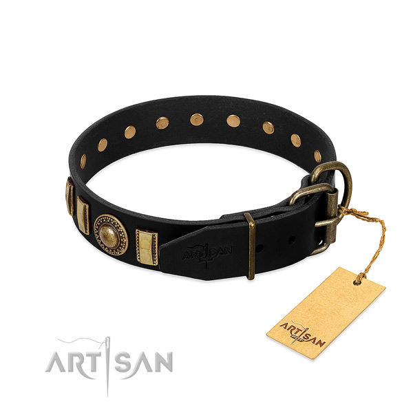 High quality full grain genuine leather dog collar with embellishments
