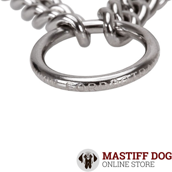 Adjustable pinch collar with dependable stainless steel O-ring for attaching a leash