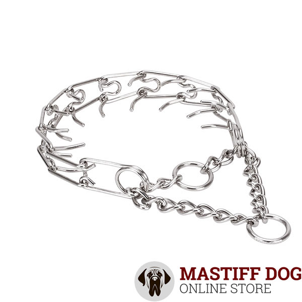 Pinch collar of corrosion resistant stainless steel for ill behaved dogs
