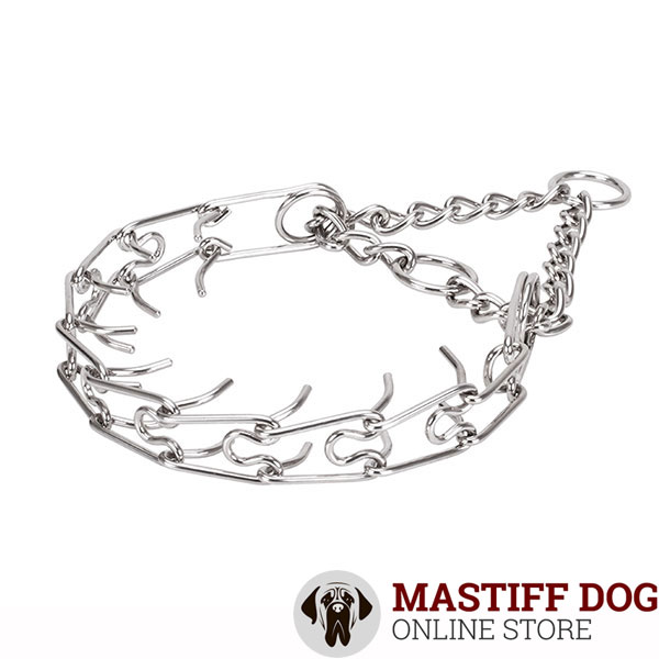 Medium and large dogs prong collar with stainless steel removable prongs