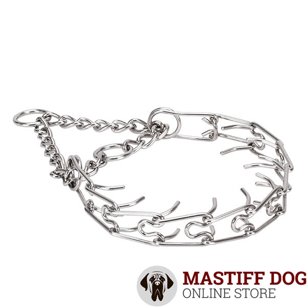 Rust resistant stainless steel prong collar for aggressive pets