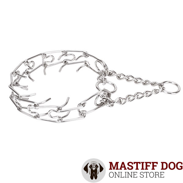 Dependable stainless steel dog prong collar for large breeds