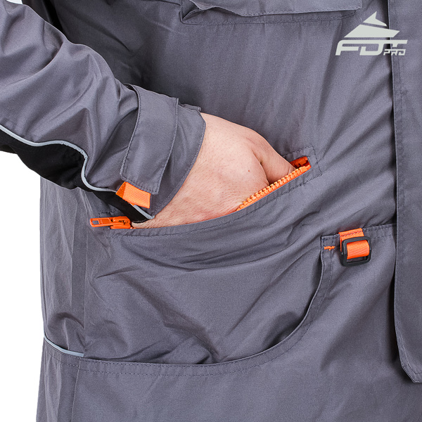 Grey FDT Pro Design Dog Tracking Jacket with Durable Side Pockets