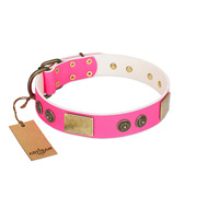 """Queen's Whim"" FDT Artisan Fancy Walking Pink Leather Mastiff Collar Adorned with Old Bronze-like Plates and Studs"