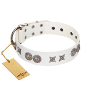 """Seventh Heavens"" FDT Artisan White Leather Mastiff Collar with Chrome-plated Stars and Engraved Brooches"