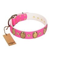 """Drawing Power"" FDT Artisan Pink Leather Mastiff Collar with Engraved Ovals and Dotted Studs"