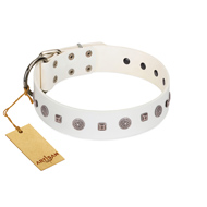"""Drops on Snow"" Handmade FDT Artisan White Leather Mastiff Collar Adorned with Silver-Like Studs"
