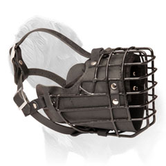 Adjustable Wire Cage and Leather Muzzle