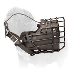 Mastiff Wire Cage Muzzle with Leather Padding