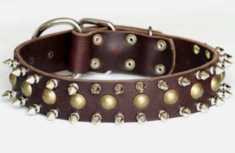 Designer leather spiked dog collar for Mastiff or - dogs wth big neck