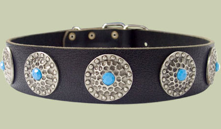High Quality Dog Collars with blue stones Mastiff